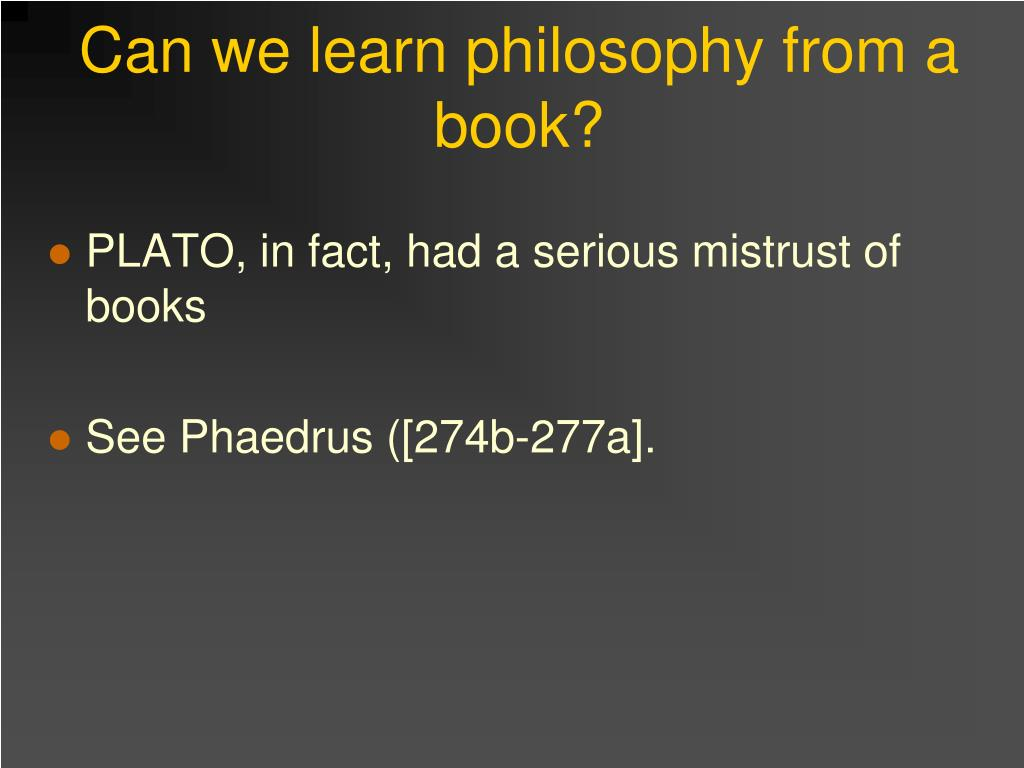 Can we learn philosophy from a book?