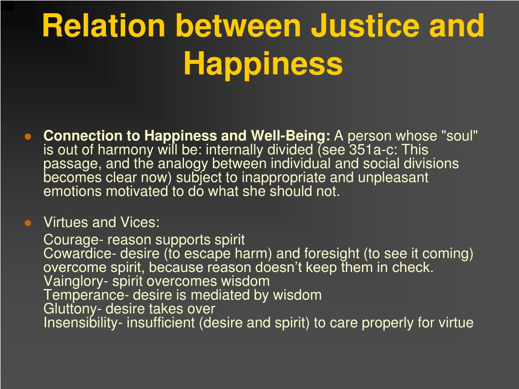 Relation between Justice and Happiness