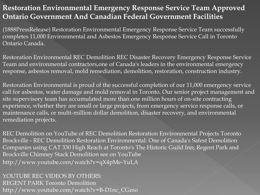 Restoration Environmental Emergency Response Service Team Approved Ontario Government And Canadian Federal Government Facilities