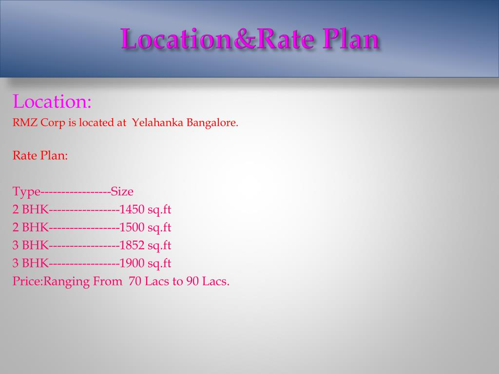 Location&Rate Plan