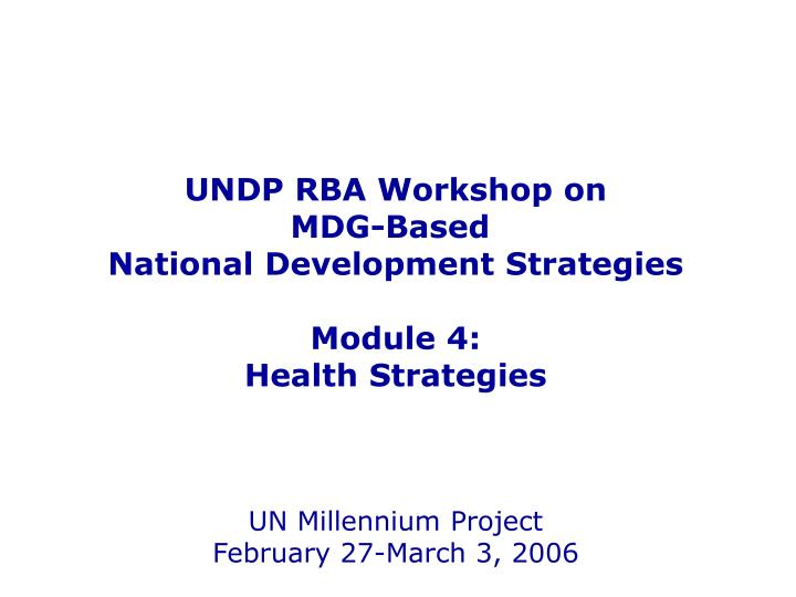 UNDP RBA Workshop on