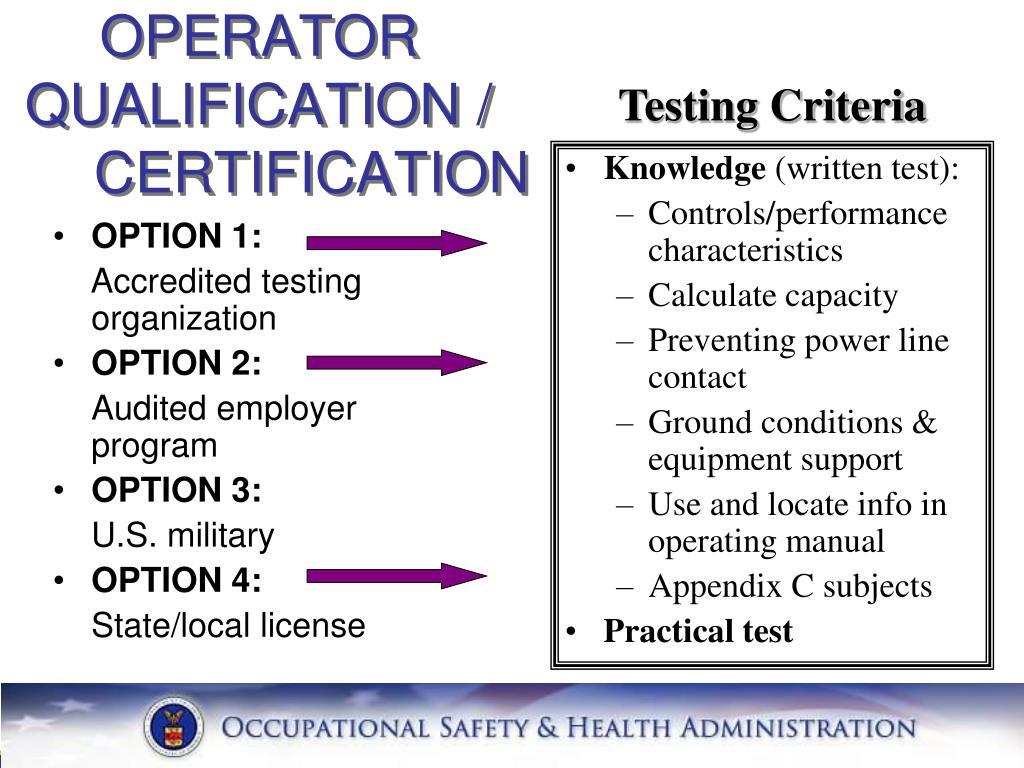 Testing Criteria