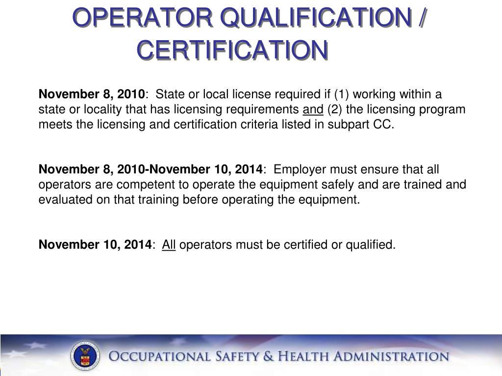 OPERATOR QUALIFICATION /