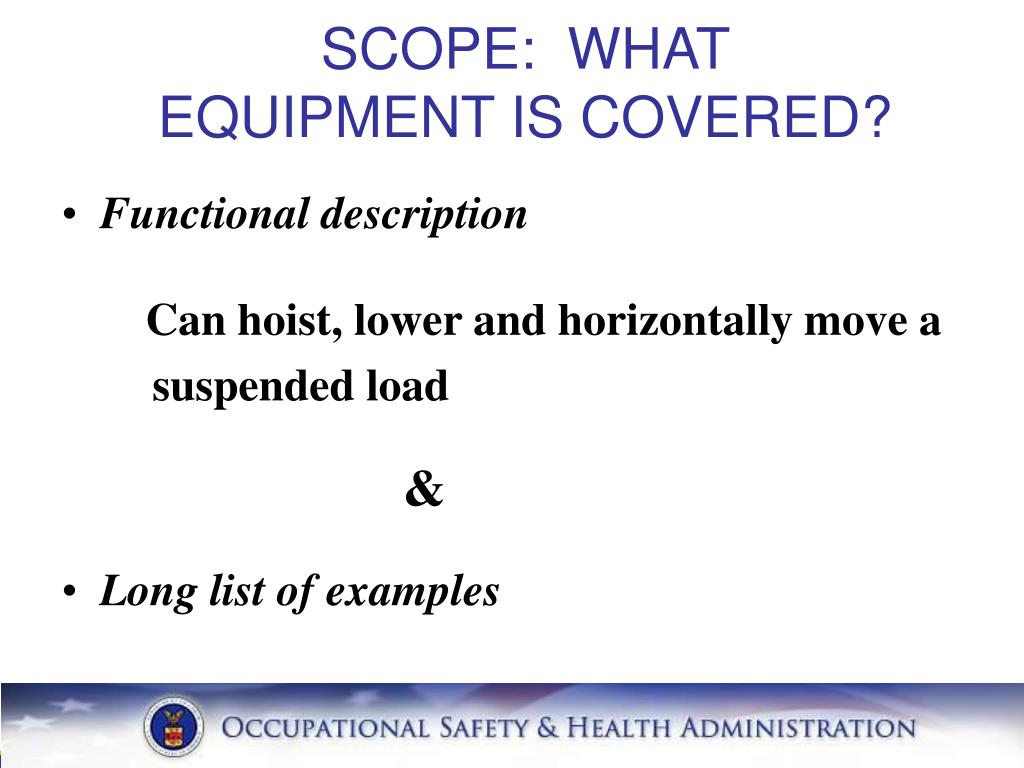 SCOPE:  WHAT EQUIPMENT IS COVERED?