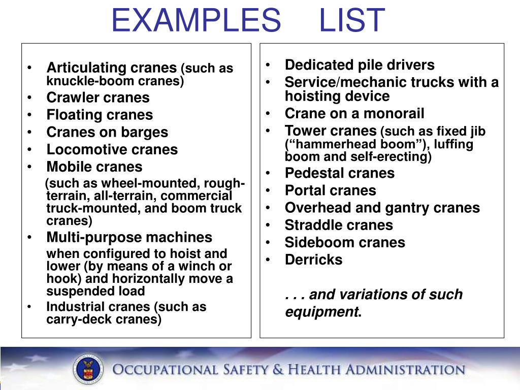EXAMPLES LIST