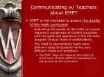 communicating w teachers about empt8