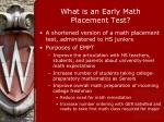 what is an early math placement test