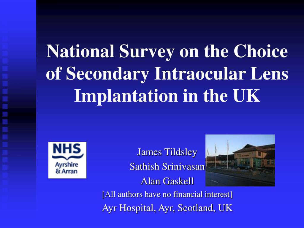 national survey on the choice of secondary intraocular lens implantation in the uk l.