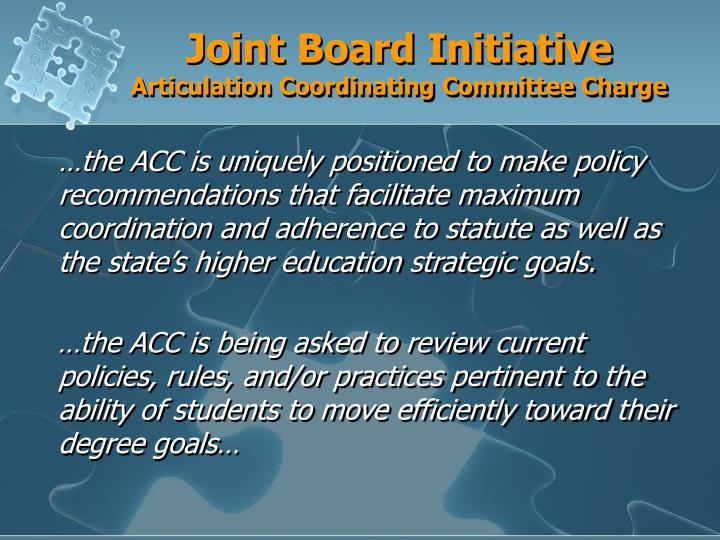 Joint board initiative articulation coordinating committee charge
