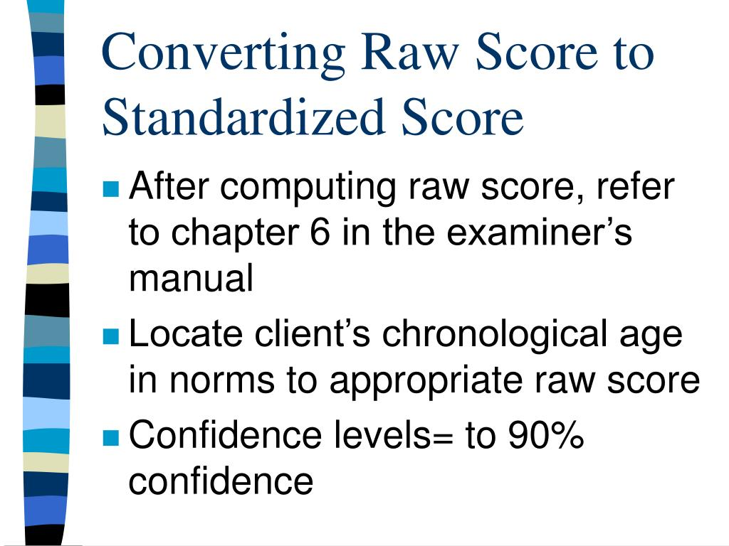 Converting Raw Score to Standardized Score