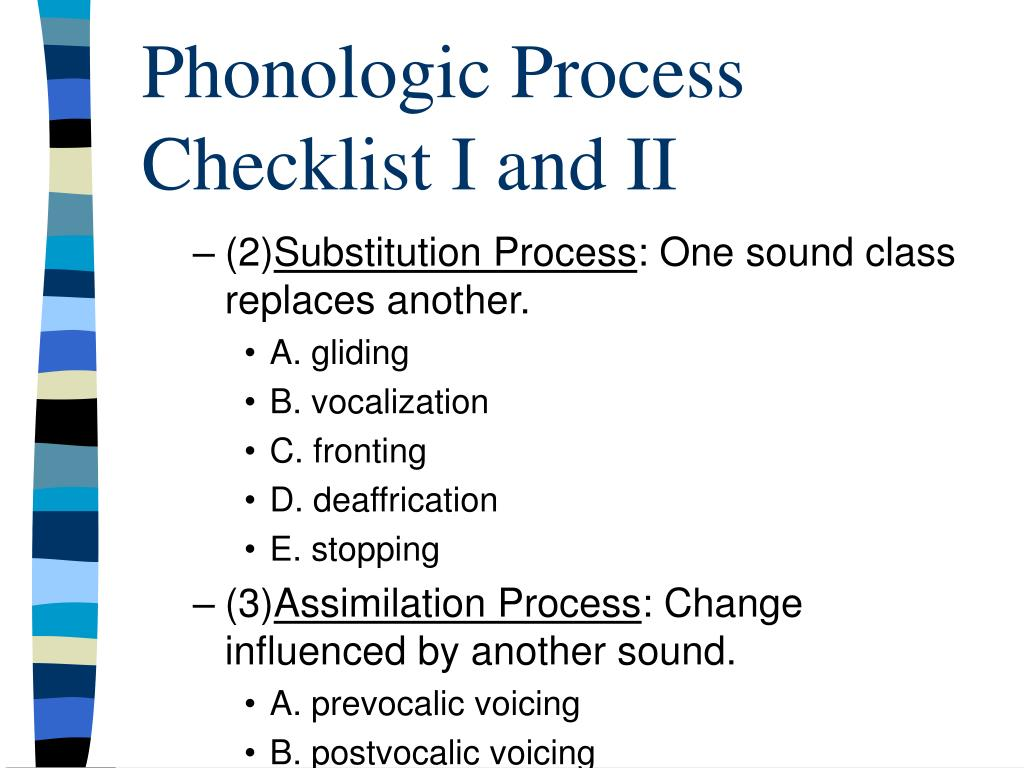 Phonologic Process Checklist I and II