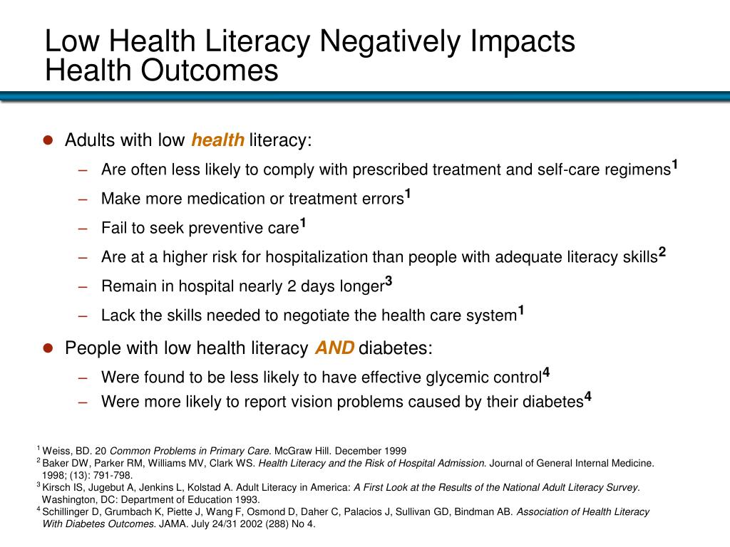 Low Health Literacy Negatively Impacts