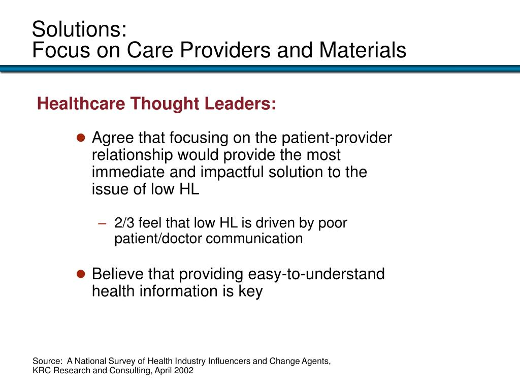 Agree that focusing on the patient-provider relationship would provide the most  immediate and impactful solution to the issue of low HL