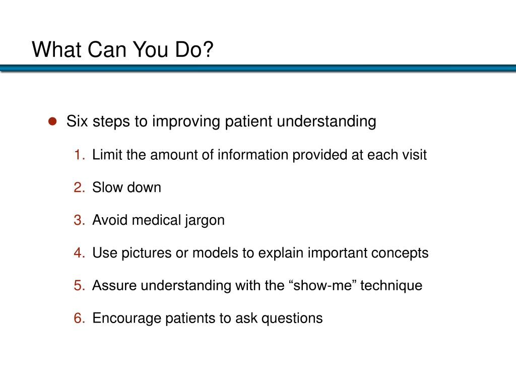 Six steps to improving patient understanding