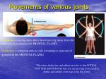 movements of various joints27