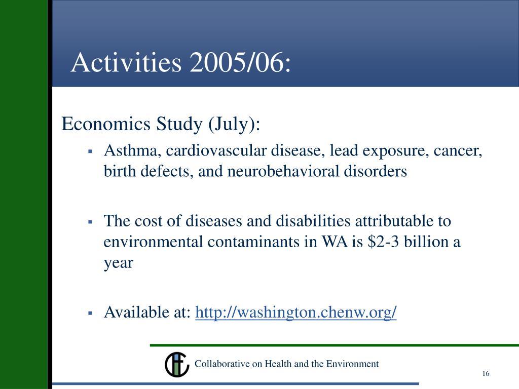 Activities 2005/06: