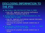 disclosing information to the pto