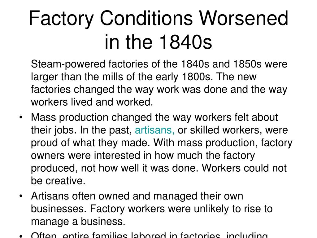 Factory Conditions Worsened in the 1840s