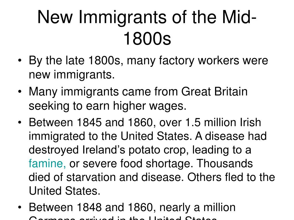 New Immigrants of the Mid-1800s