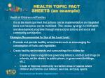 health topic fact sheets an example