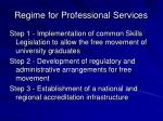 regime for professional services
