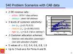 540 problem scenarios with cab data