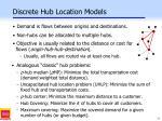 discrete hub location models