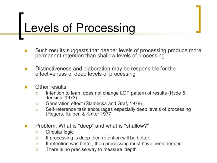an experiment on the effect of deeper levels of processing on word retention Type i or same-level processing and type ii processing which involves further, deeper  elaboration or deeper processing of the trace has not been defined independently of the predicted effect of the processing on some delayed memory test the dichotomy is applicable, in practice, only when applied.
