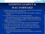 lessons learnt way forward
