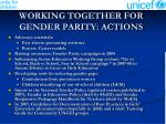 working together for gender parity actions