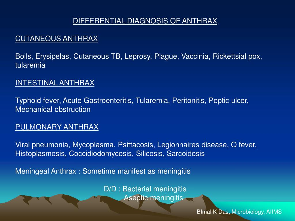DIFFERENTIAL DIAGNOSIS OF ANTHRAX