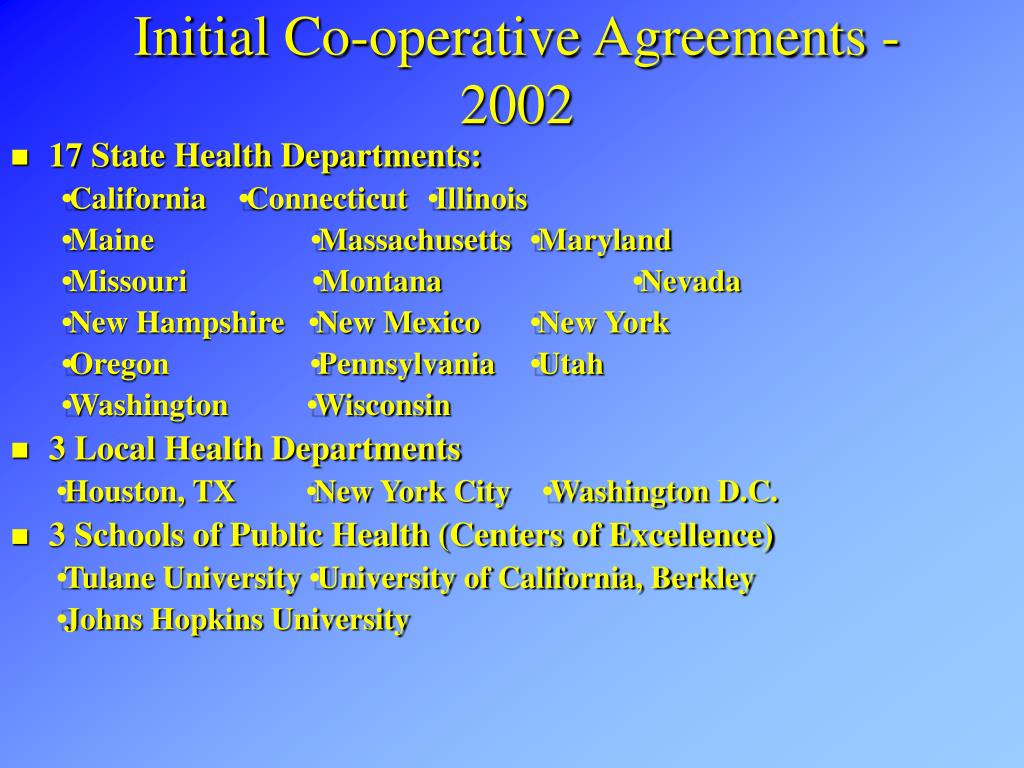 Initial Co-operative Agreements - 2002