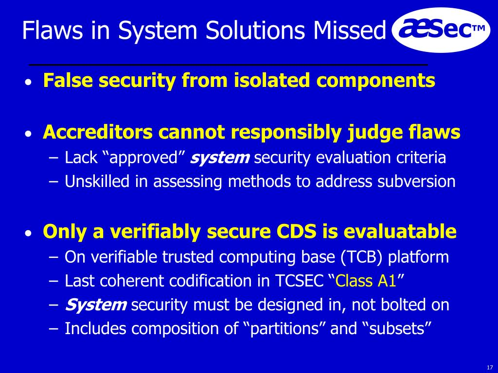 Flaws in System Solutions Missed