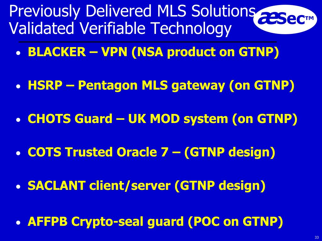 Previously Delivered MLS Solutions Validated Verifiable Technology