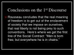 conclusions on the 1 st discourse