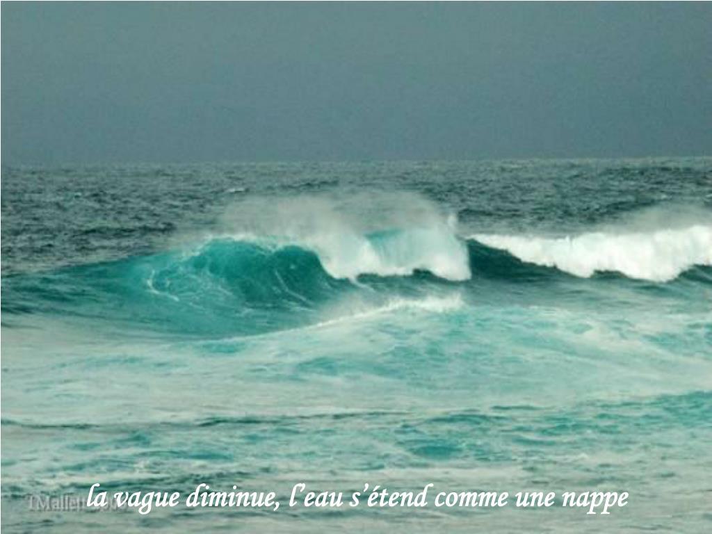 la vague diminue, l'eau s'étend comme une nappe