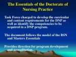 the essentials of the doctorate of nursing practice