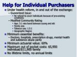 help for individual purchasers