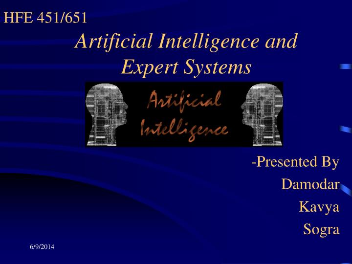 artificial intelligence and expert systems n.