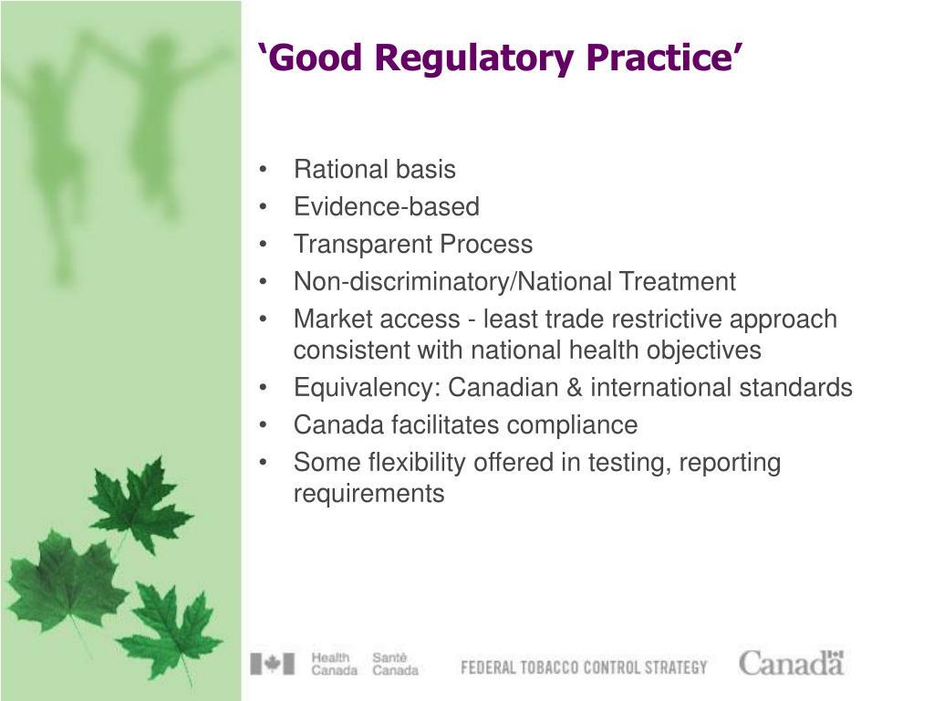 'Good Regulatory Practice'