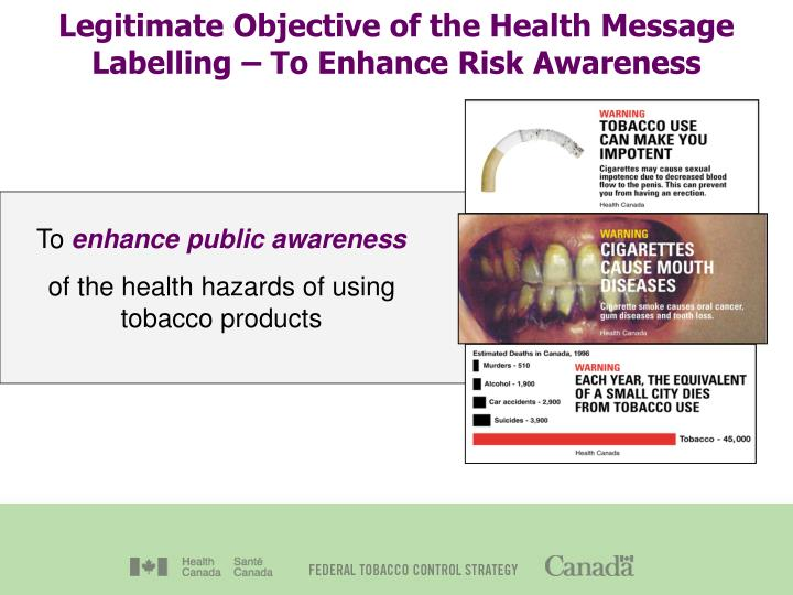Legitimate objective of the health message labelling to enhance risk awareness
