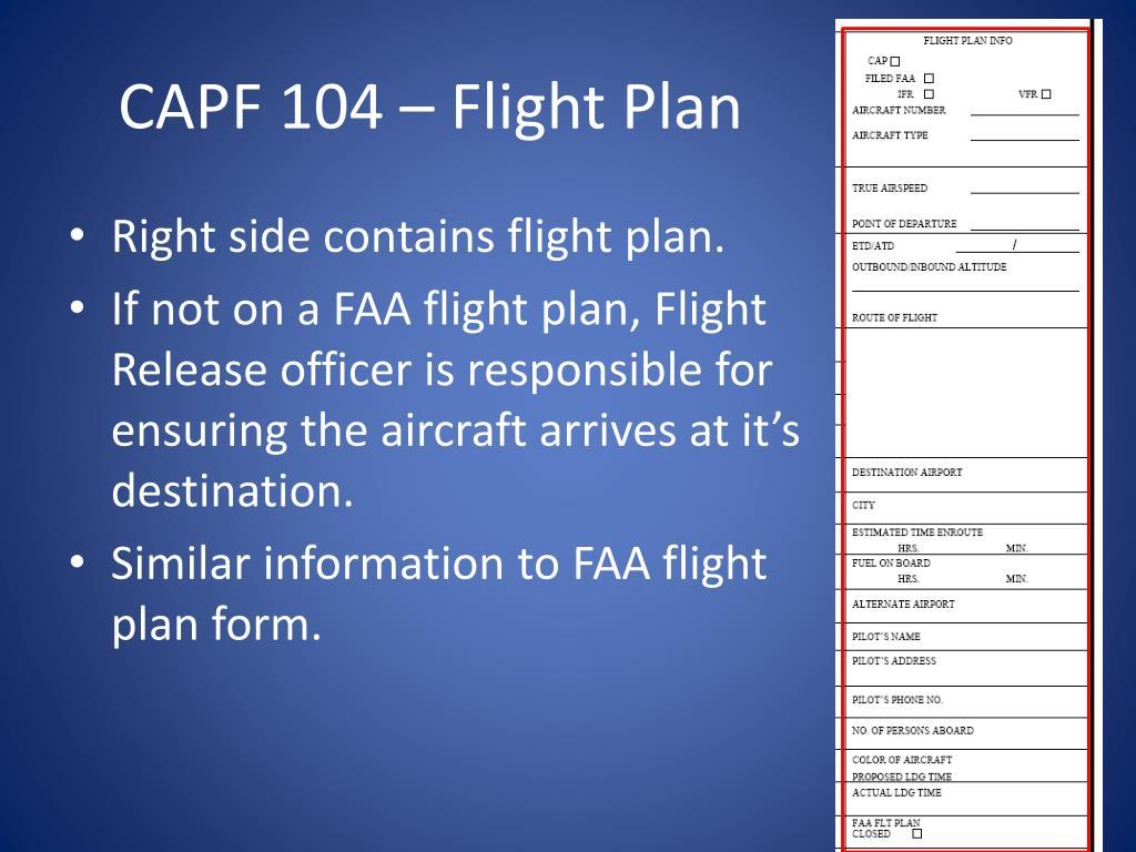 CAPF 104 – Flight Plan