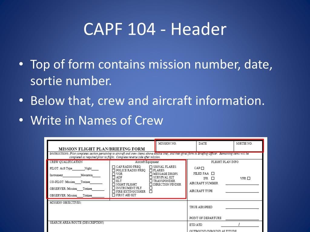 CAPF 104 - Header