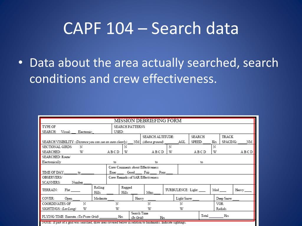 CAPF 104 – Search data