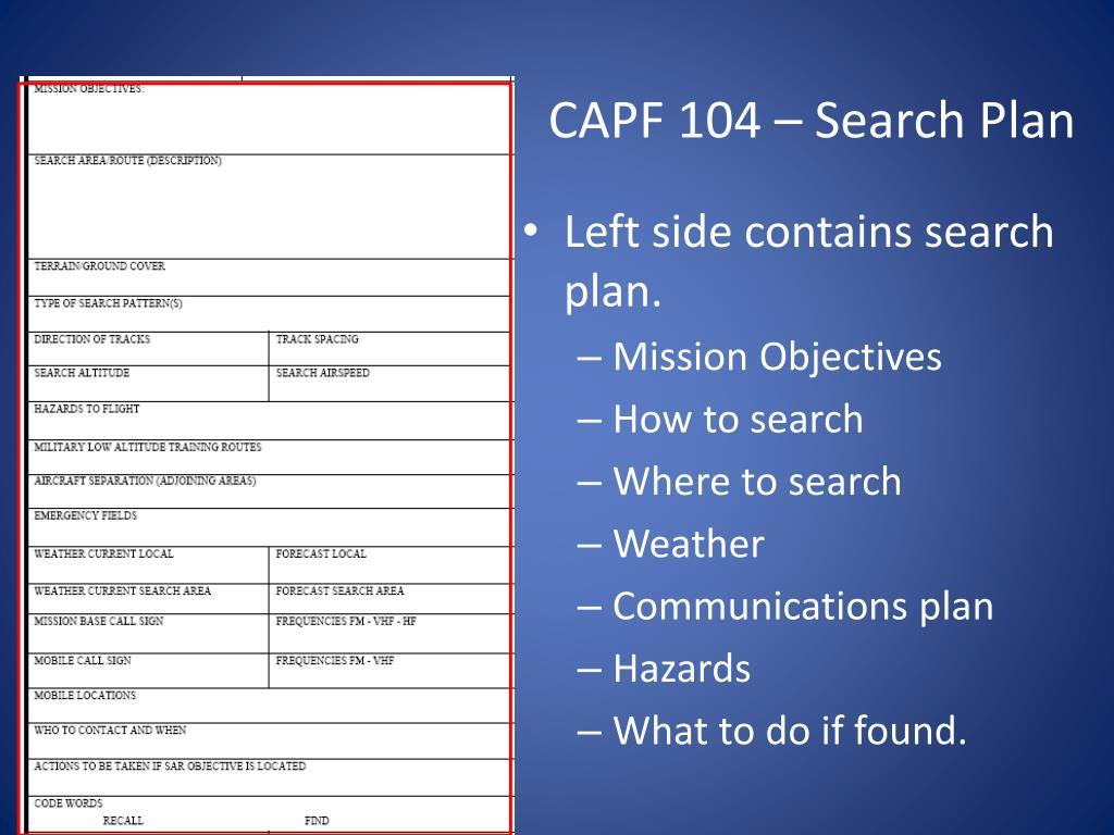 CAPF 104 – Search Plan
