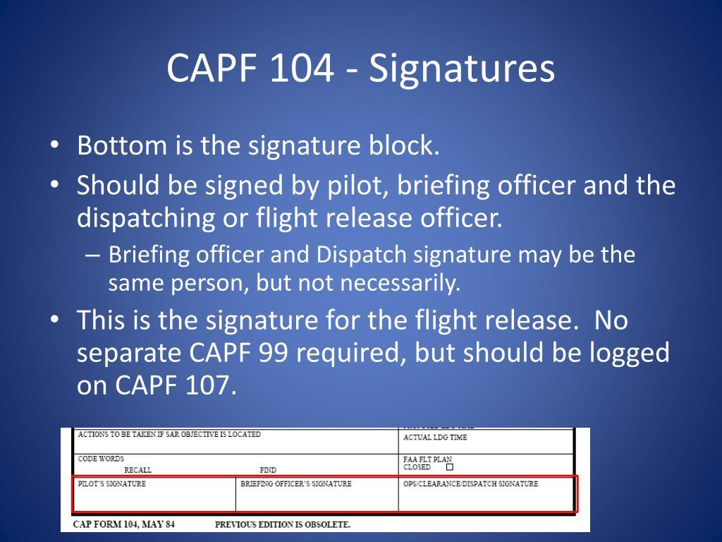 CAPF 104 - Signatures