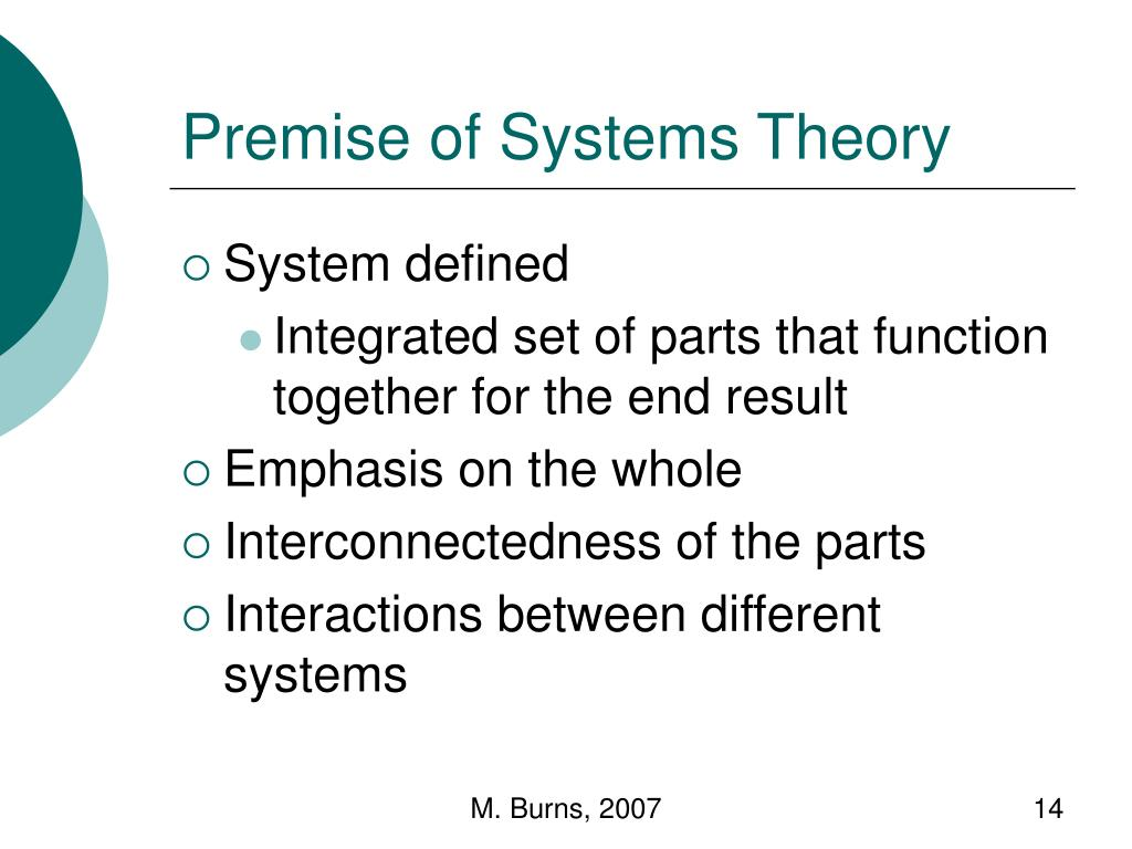 Premise of Systems Theory