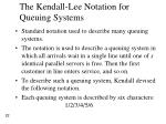 the kendall lee notation for queuing systems