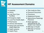 hit assessment domains