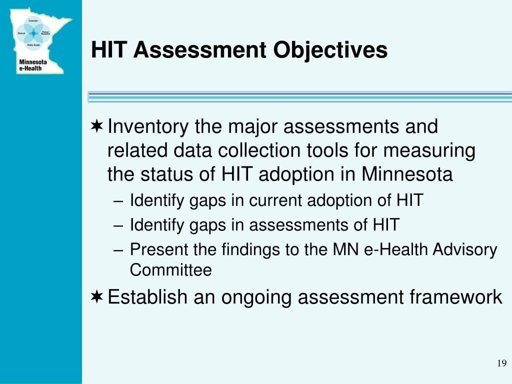 HIT Assessment Objectives